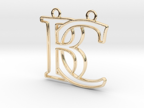 Monogram with initials B&C in 14k Gold Plated Brass