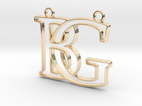 Monogram with initials B&G in 14k Gold Plated Brass