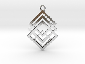 Geometrical pendant no.1 in Polished Silver: Large