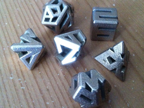 Connect Dice Set in Polished Bronzed Silver Steel