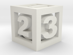 Double Dice D3 in White Natural Versatile Plastic