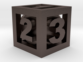 Double Dice D3 in Polished Bronzed-Silver Steel