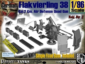 1/96 Ground Flakvierling 38 Set002 in Smooth Fine Detail Plastic