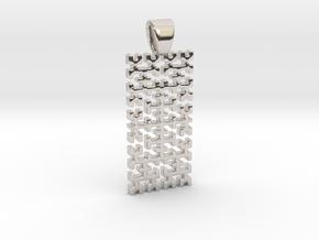 Big Hilbert curve [pendant] in Rhodium Plated Brass