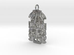 Mayan Mask Pendant (precious metals) in Natural Silver