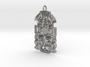 Mayan Mask Pendant (for gemstone) in Natural Silver