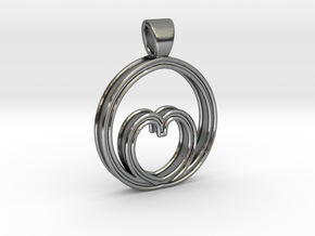 Egg of love [pendant] in Polished Silver