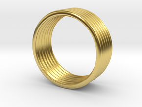 Wave Ring 5 mm 8,25 size in Polished Brass