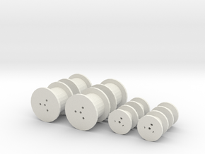 O Scale Cable Reels, Small in White Natural Versatile Plastic