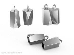 Scutoid Earrings (hollow version) in Polished Silver