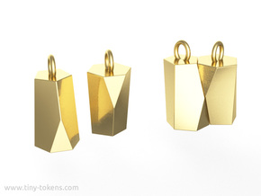 Scutoid Earrings (solid version) in Polished Brass