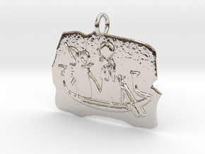 Ra's Solar Barque amulet in Rhodium Plated Brass