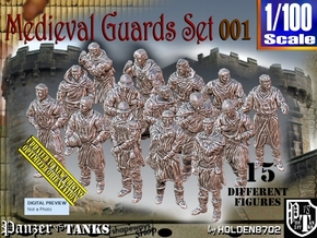 1/100 Medieval Guards Set001 in Smooth Fine Detail Plastic