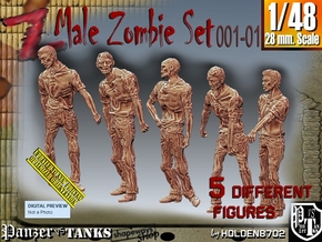 1/48 male zombie set001-01 in Smooth Fine Detail Plastic