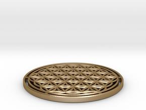 Flower of Life 7.23cm = 1 Om in Polished Gold Steel