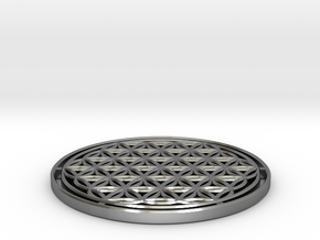 Flower of Life 7.23cm = 1 Om in Polished Silver