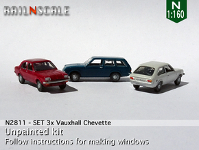 SET 3x Vauxhall Chevette (N 1:160) in Smooth Fine Detail Plastic