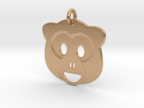 Monkey Emoji Pendant - Metal in Natural Bronze