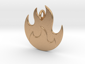 Fire Emoji Pendant - Metal in Natural Bronze