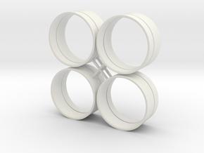 Base 26 Rings in White Natural Versatile Plastic