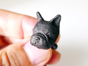 French Bulldog Cufflinks in Matte Black Steel