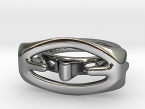 Abstract curved Ring in Polished Silver: 9 / 59