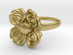 Floral Spinner Ring in Natural Brass (Interlocking Parts): 5 / 49