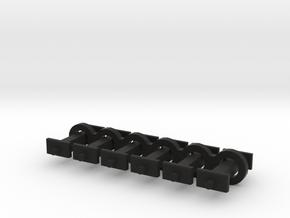N Scale 8mm Fixed Coupling Drawbar x6 in Black Natural Versatile Plastic