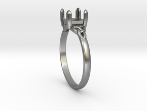 celtic trinity ring-princess cut-5x5-size 6.5 in Natural Silver