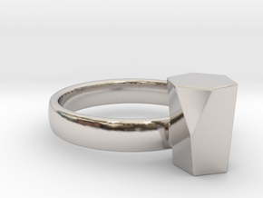 Scutoid Packing Ring  in Rhodium Plated Brass: 4 / 46.5