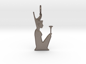 Neith / Nit amulet (red crown version) in Polished Bronzed-Silver Steel