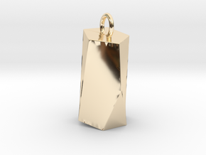 Scutoid Pendant - Version 2 (solid) in 14k Gold Plated Brass