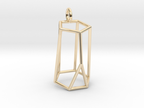 Scutoid Pendant - Version 2 (wireframe) in 14k Gold Plated Brass