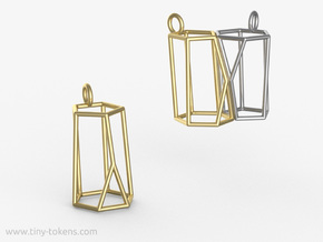 Scutoid Pendant - Version 2 (wireframe) in Polished Brass