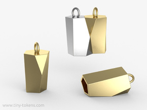 Scutoid Pendant - Version 1 (hollow) in Polished Brass