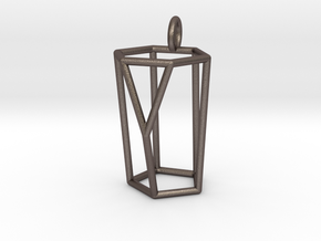 Scutoid Pendant - Version 1 (wireframe) in Polished Bronzed-Silver Steel
