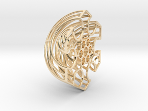 Wireframe Astrolabicon // Side B in 14K Yellow Gold