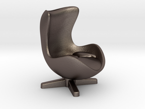 Arne Jacobson Egg Chair Inspired in Polished Bronzed-Silver Steel: Medium