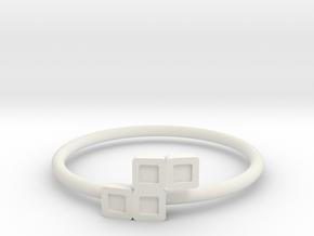 Block Puzzle Ring (Type-S) in White Natural Versatile Plastic