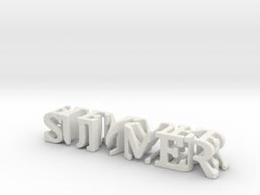 3dWordFlip: summer/pleasure in White Natural Versatile Plastic