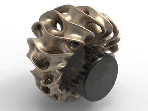 Gyroid Ring in White Natural Versatile Plastic