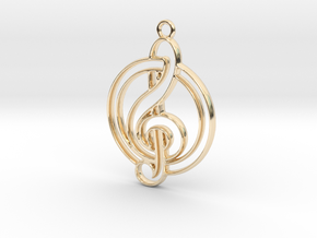 Key note and circle intertwined in 14k Gold Plated Brass