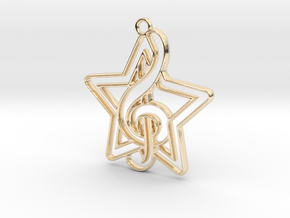Star and key note intertwined in 14k Gold Plated Brass