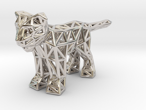 Lion (young) in Rhodium Plated Brass