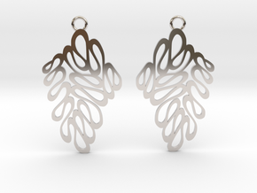Wave earrings in Rhodium Plated Brass: Extra Small
