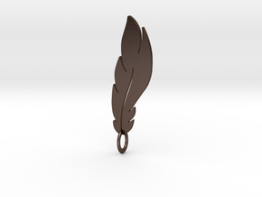 feather pendant in Polished Bronze Steel