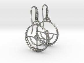 Clockwork Hoop Earrings in Natural Silver (Interlocking Parts)