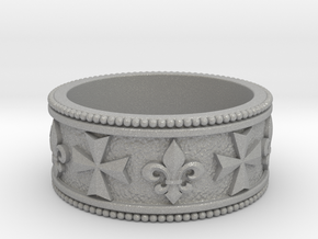 Maltese Cross and a Fleur-de-lis Heraldry Ring in Aluminum