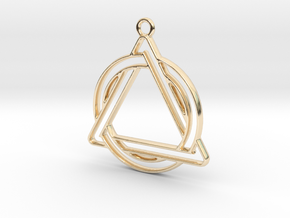 Circle and triangle intertwined in 14k Gold Plated Brass