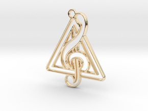 Treble Clef And triangle intertwined in 14k Gold Plated Brass